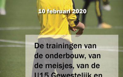 Sommige trainingen gaan NIET door op maandag 10/02/2020